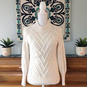 LOFT Ivory Mock Neck Bobble Pom Sweater